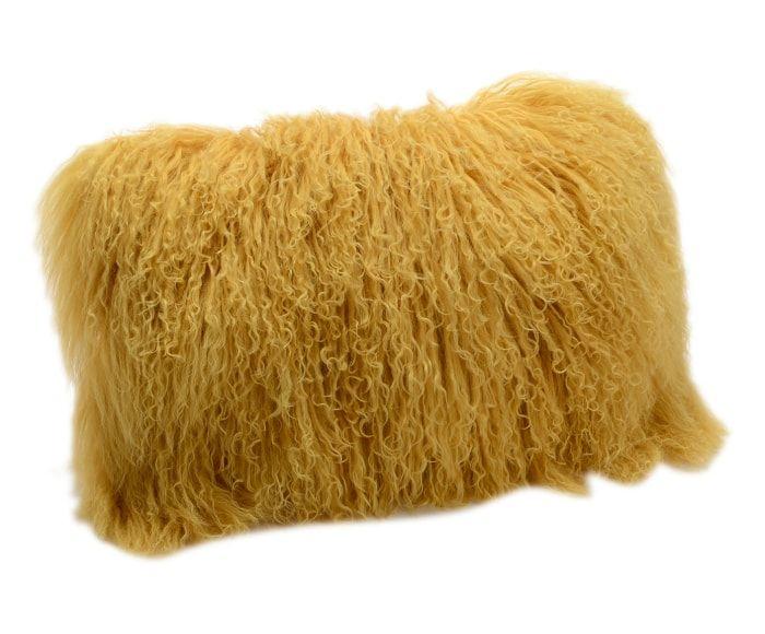 Cojín en lana de cordero Orebro, mostaza - 30x30 cm