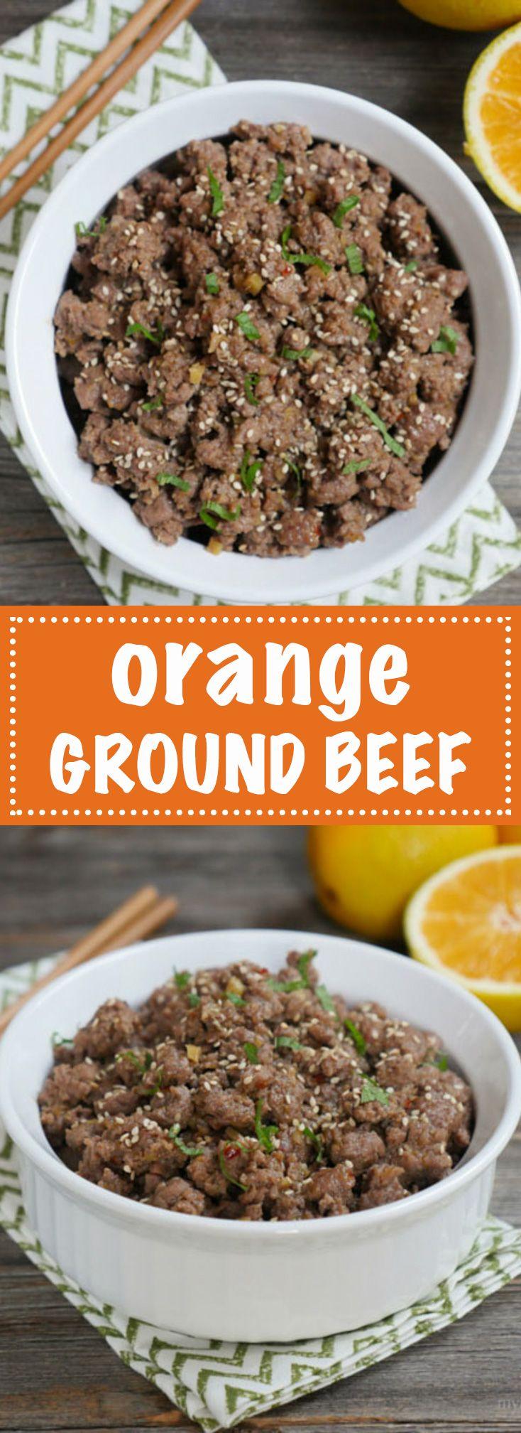 Orange Ground Beef = the ground beef version of orange chicken. Sweet, Spicy, Citrusy! Recipe on MyHeartBeets.com