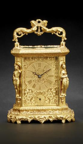 A fine gilt striking and repeating carriage clock with alarm Signed Jules à Paris, circa 1840