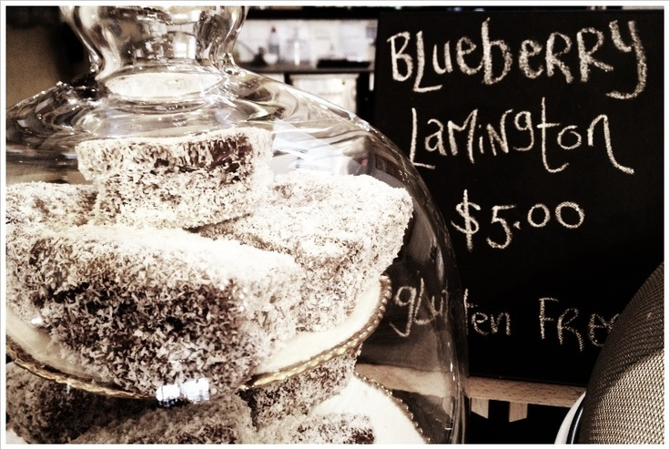 Gluten free Blueberry Lamingtons at Ego's Culinaria in #Daylesford