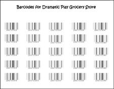 "Barcodes for Dramatic Play Grocery Store ~ although, this could be assigned as ""homework"" or for a ""wishlist"". Have the kids cut out and bring in....numeracy AND cutting skills. Not to mention, observation skills!"