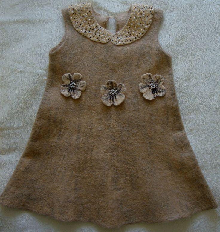 Платье валяное на 2 года из мериноса и альпаки.
