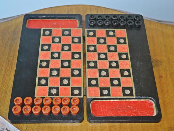 Antique Travel Checkers Game Early 1900's Wood Board