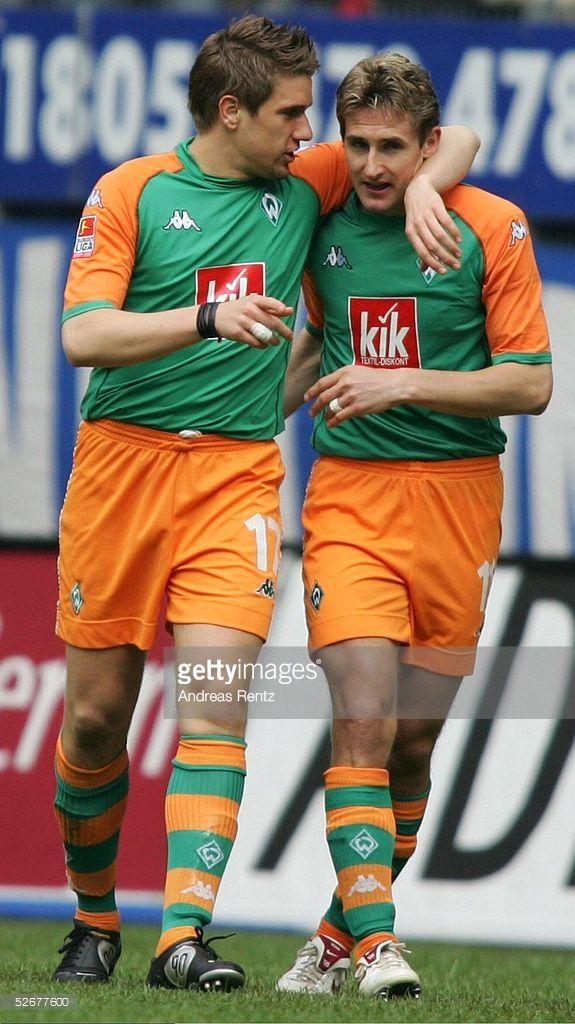 1. Bundesliga 04/05, Hamburg, 09.04.05; Hamburger SV - SV Werder Bremen: Ivan KLASNIC, Miroslav KLOSE/Bremen jubeln nach dem 0:1 Treffer