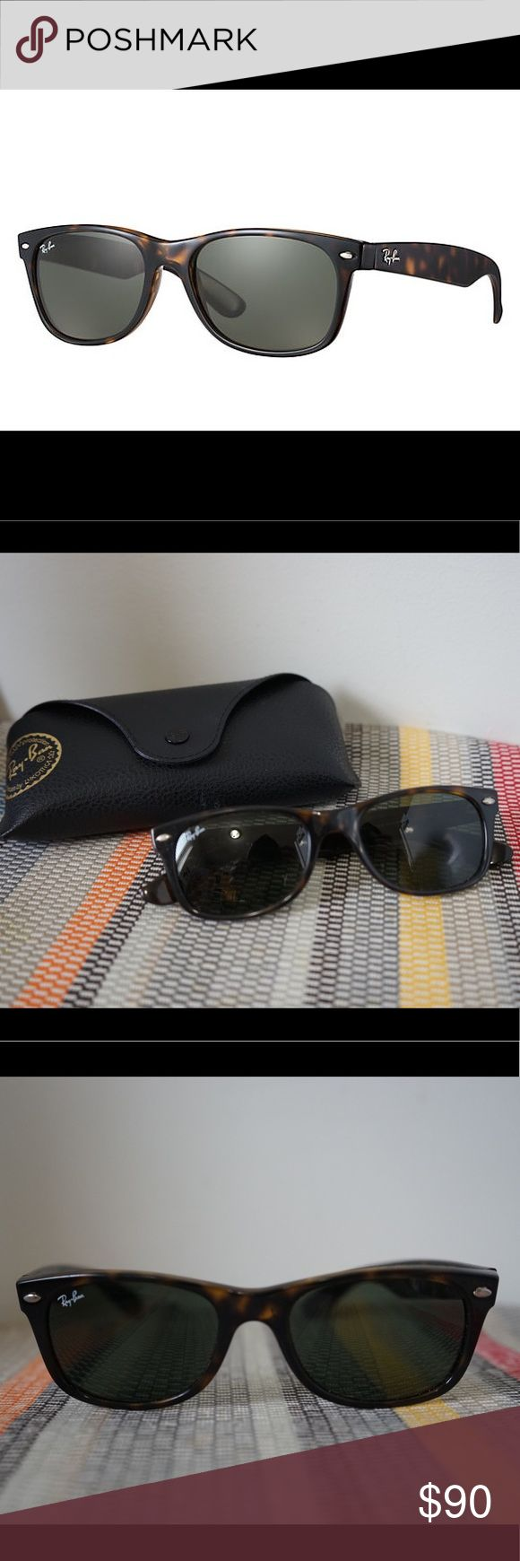 Ray-Ban New Wayfarer Tortoiseshell Sunglasses Dark lens sunglasses (non prescription) with tortoiseshell frames. Style RB2132. 100% UV protection. Some small scratches on lenses, which can also be easily replaced with prescription. Case included. Ray-Ban Accessories Sunglasses