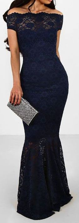 Off The Shoulder Mermaid Navy Blue Lace Formal Dress