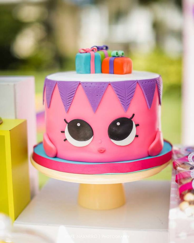 Adorable cake at a Shopkins birthday party! See more party ideas at CatchMyParty.com!