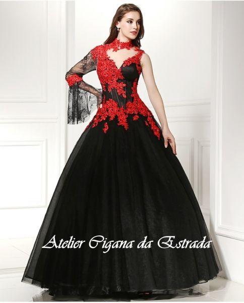 Vestido Pombagira do Cabaré com corselet preto e vermelho luxo