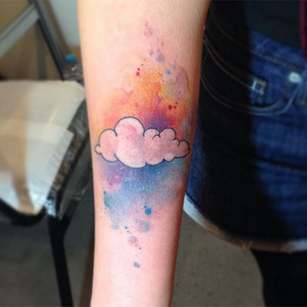 I like the colour and bold line on the cloud, but I worry that this would look mucky or like a bruise when scaled down.
