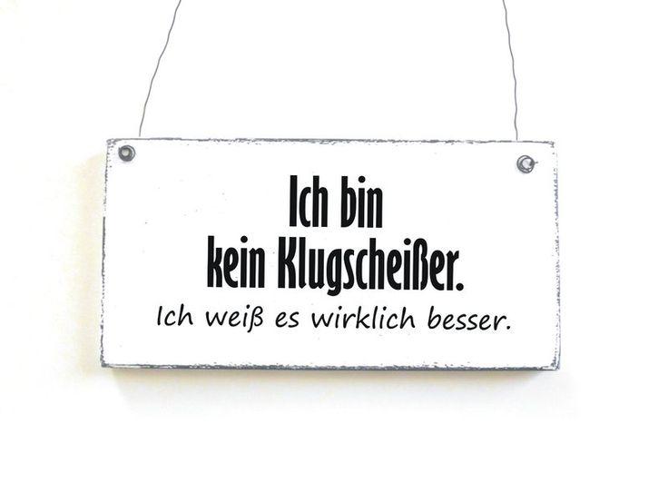 Dekoschild KLUGSCHEIßER Holzschild Schild Vintage von DÖRPKIND. Bestellbar bei www.doerpkind.de