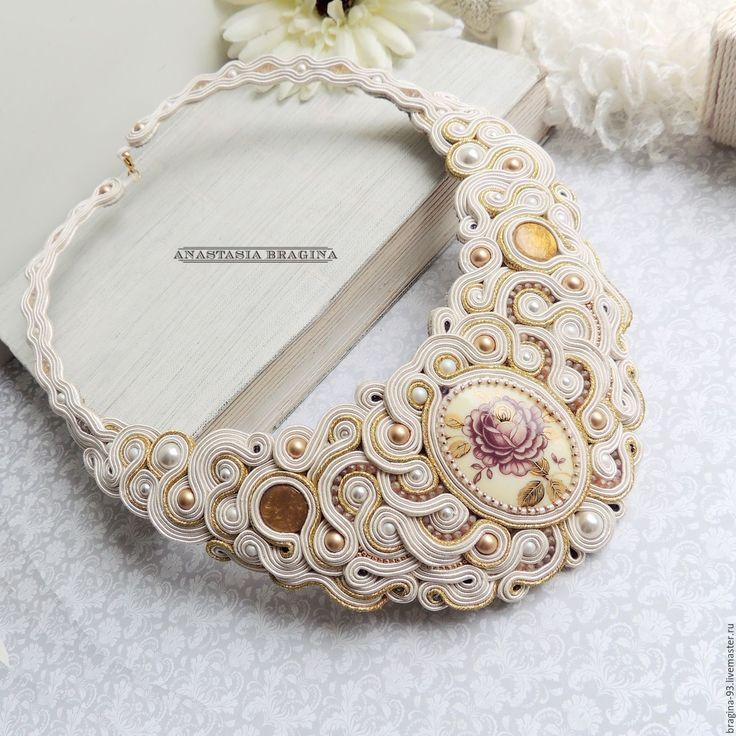 Купить Сутажное колье - белый, на свадьбу, для невесты, украшения невесты, роскошное колье, винтажные украшения
