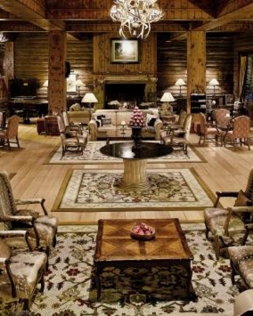 Llao Llao Hotel & Resort  (  Bariloche, Argentina )  The lobby's stone fireplaces and rustic decor match the surrounding area's majestic grandeur. #Jetsetter