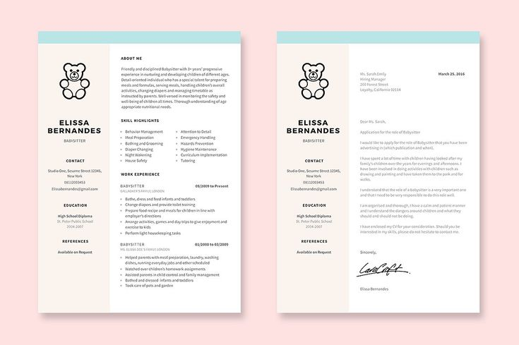 Babysitter Resume Template by Elissa Bernandes on @creativemarket