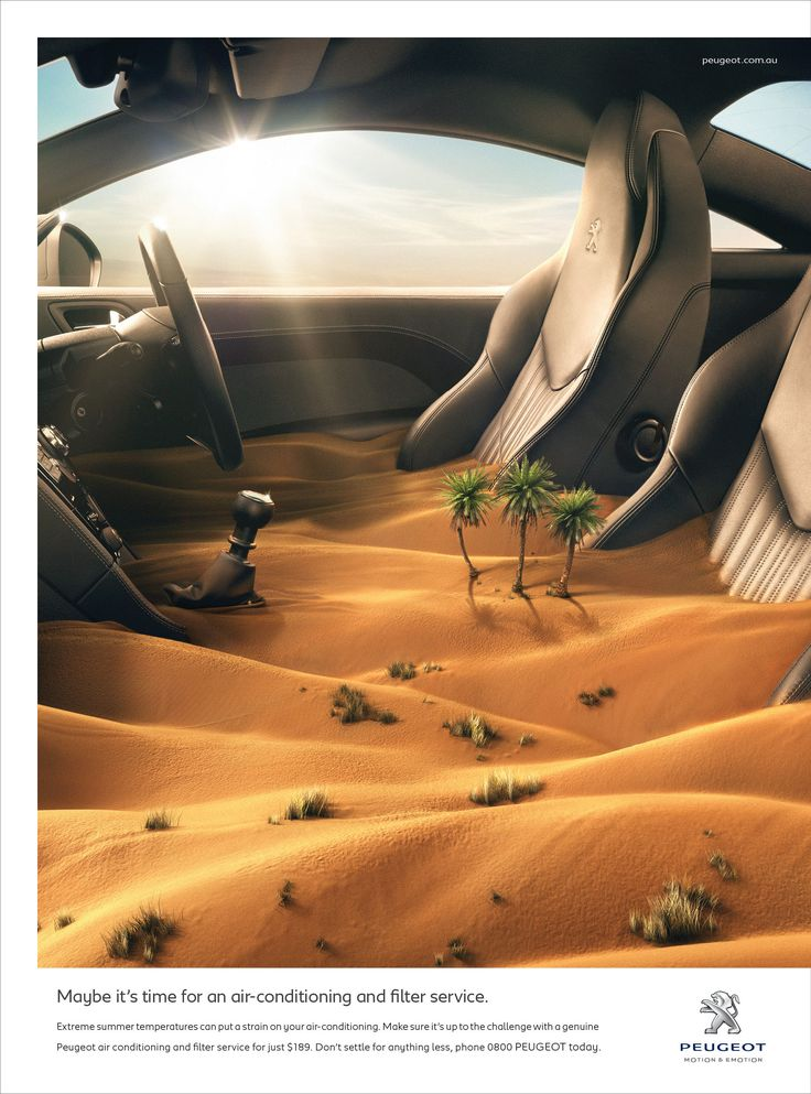 """Peugeot: Desert """"Maybe it's time for an air-conditioning and filter service."""""""