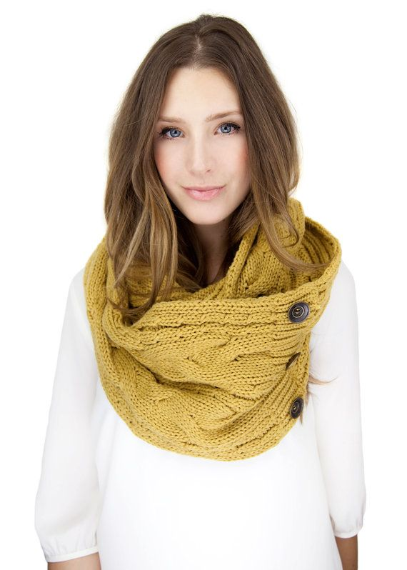 MUSTARD KNIT BUTTON knit scarf  infinity scarf by gertiebaxter, $44.50