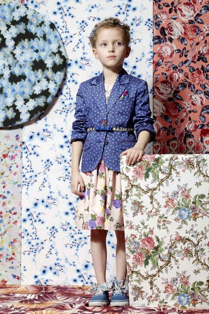 Pattern and print kids fashion for summer 2013 - Jacket by Paul Smith from £130, dress by Their Nibs £79, Belt from Bonpoint £23