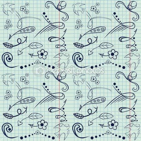 schetsmatig notebook doodles met hand tekenen pijlen, bloemen, vogels en meer hand getrokken ontwerpelementen op gelinieerd papier achtergrond. naadloze textuur — Stockillustratie #49765365