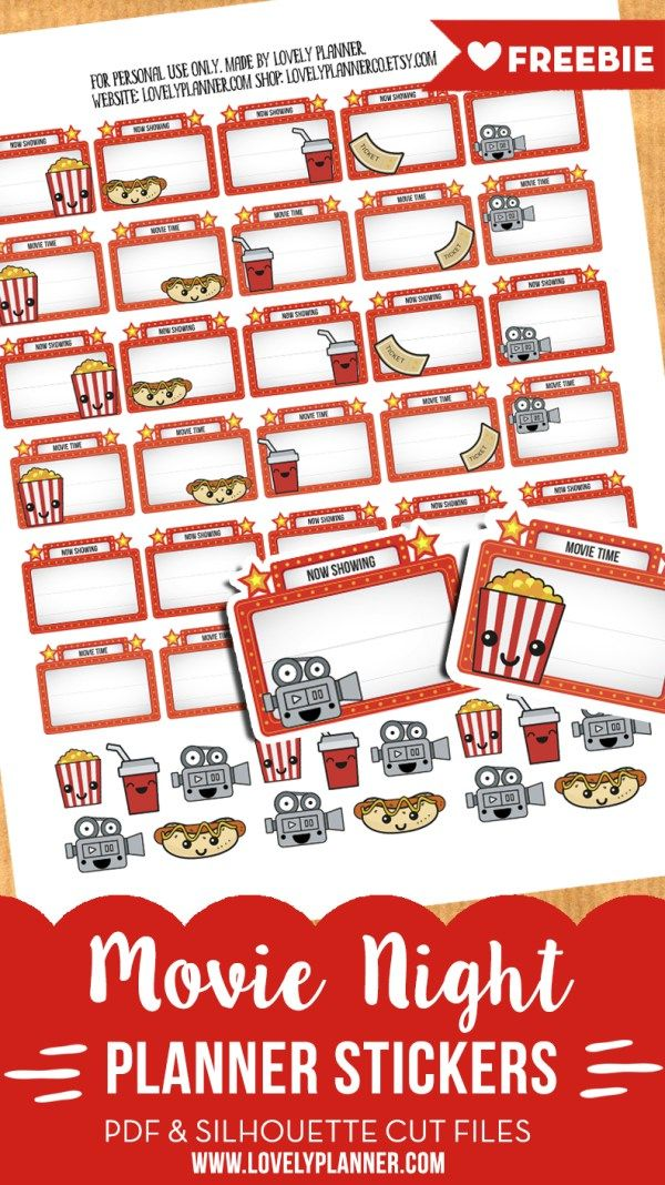 FREE 45 Free movie night planner stickers with marquee signs and cute characters to write down the title of the movies you are going to see. PDF and cut files.
