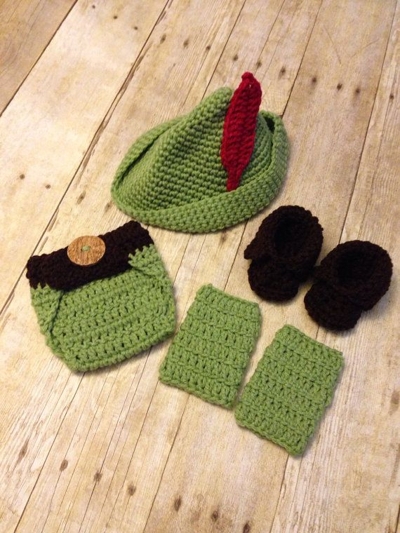Crochet baby peter pan 4 peice set newborn by PinkPoppiesStudio
