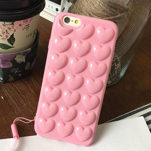 LOVECOM Fashion 3D Hearts Love Soft TPU Case Coque For iPhone 6 6S 7 Plus Candy Color Mobile Phone Cases Back Cover With Strap