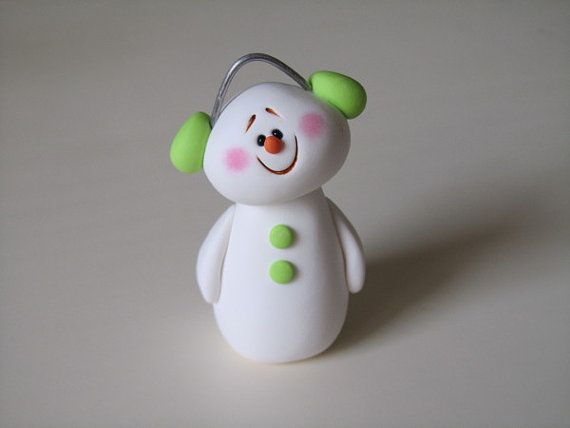 Polymer clay christmas snowman ornament reindeer ornaments and polymers - Idee de pate fimo ...