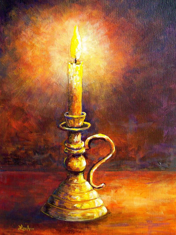 Candle Amber Glow Candle Painting Art Watercolor