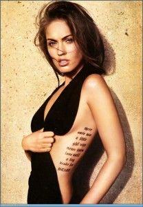 La jove actriz Megan Fox (Transformers) destacaría por llevar tatuajes bastante especiales