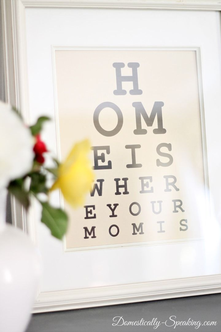 """Free Eye Chart """"Home is where the heart is"""" Mother's Day Printable"""