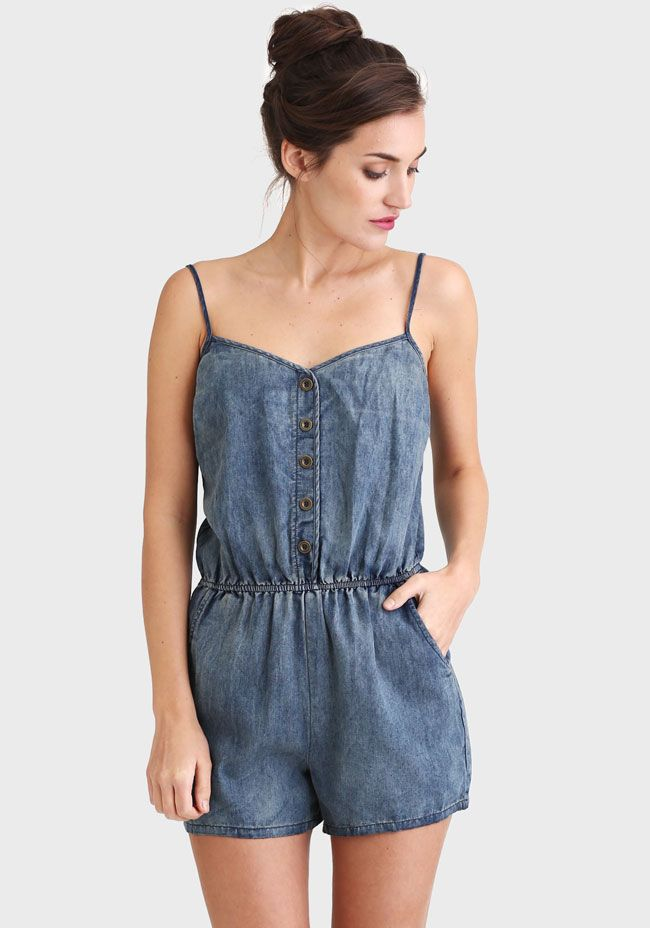 Danielle Distressed Chambray Romper by: ShopRuche.com
