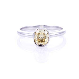 Yellow Diamond Cushion Cut Bezel Ring 18 ct White Gold
