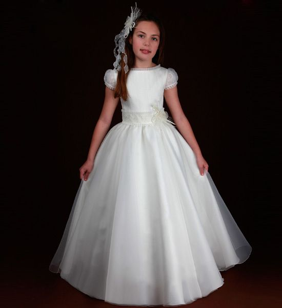 Gignified Jewel Short Sleeve Sashes/Ribbons Floorlength Satin Organza Tulle Flower Girl Dresses