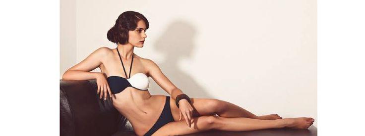Blue and white bandou bikini set @pelsoswimwear