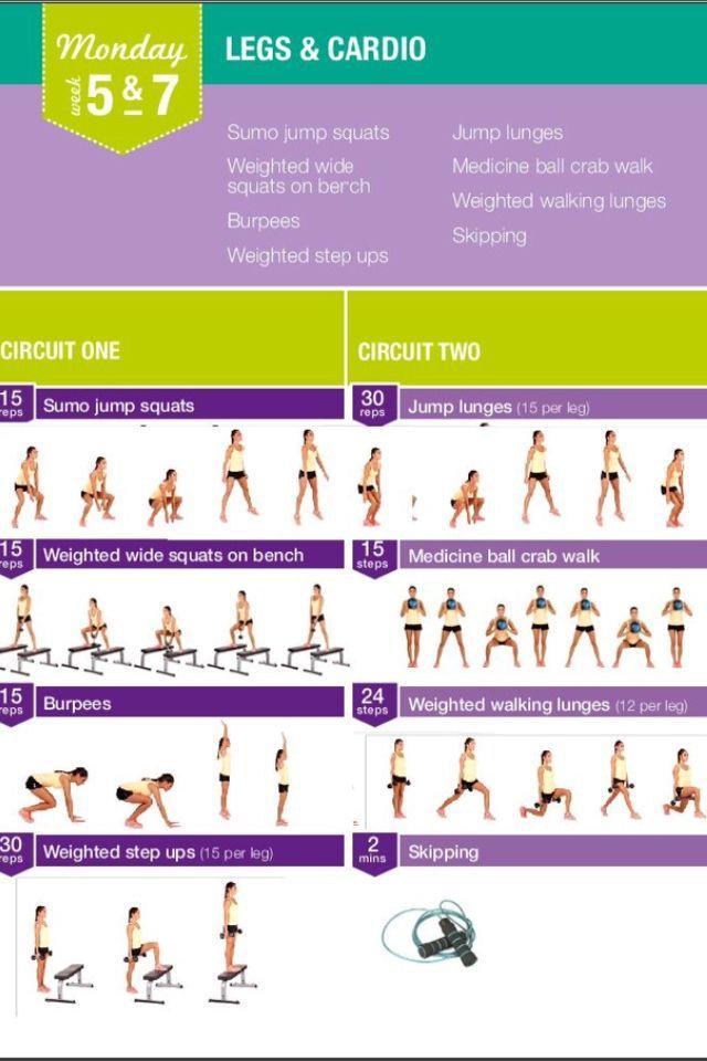 Kayla Itsines Workout Monday week 5&7