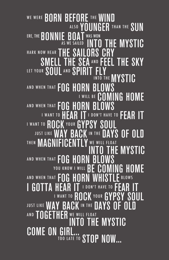 Into the Mystic  Van Morrison Lyrics Poster  by LeMonkeyHouse