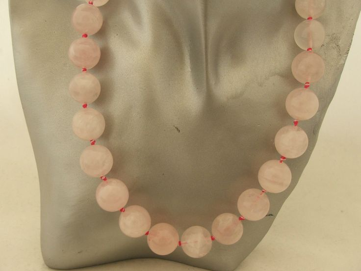 Gorgeously Chunky Rose Quartz Necklace Rose Gold Sterling Silver Hand Knotted | eBay