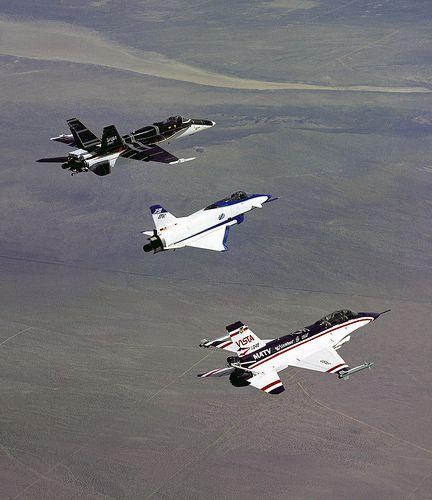 NASA photo -- F-18 HARB, X-31, VISTA MATV -- thrust vectoring, high alpha, research aircraft