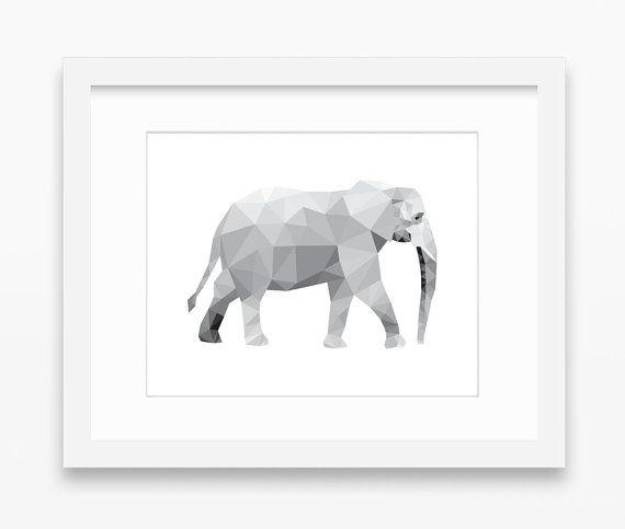 Elephant Print Elephant Art Elephant Wall Art Geometric by Abodica