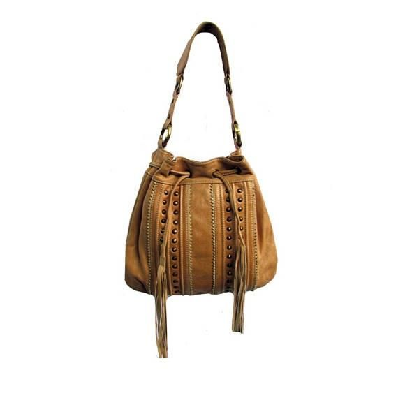 Soft Tan Leather Drawstring Bohemian Handbag