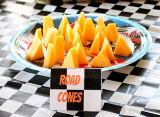 road cones cheese  race car party boy party hot wheels party