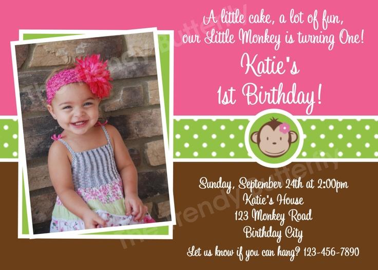 Monkey Birthday Invitation Mod Monkey Birthday Party Invitation Pink and Green Girls Invite. $15.00, via Etsy.
