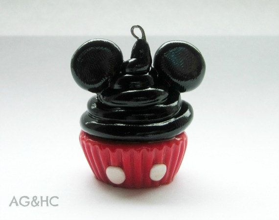 Mickey Mouse Cupcake Clay Charm - Handcrafted Polymer Clay Charm - Disney Inspired Jewelry - Character Cupcake. $8.00, via Etsy.