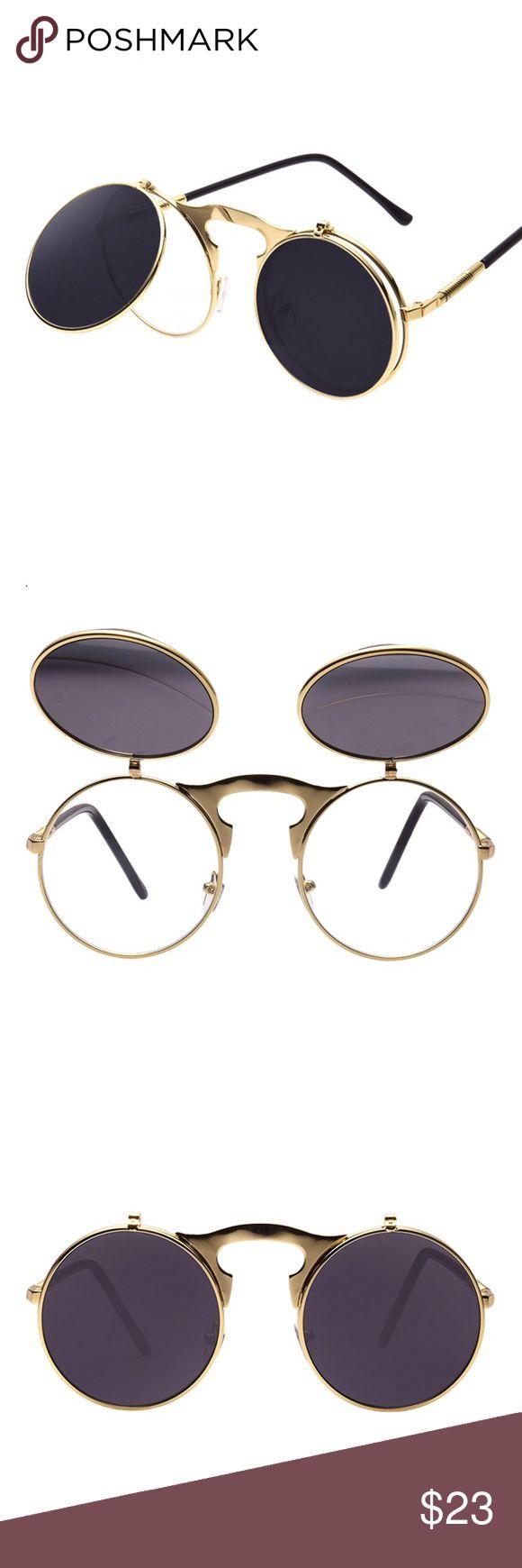 Men's Retro Gold Frame Flip Sunglasses Men's Retro Gold Frame Flip Sunglasses  Len's Material: Polycarbonate  Frame Material: Metal  Len's width : 4.6 cm  Style: Round Tsv Jewelers Accessories Glasses
