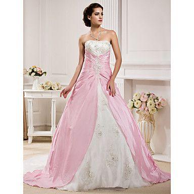 Ball Gown Strapless  Chapel Train Taffeta  Wedding Dress – USD $ 349.99