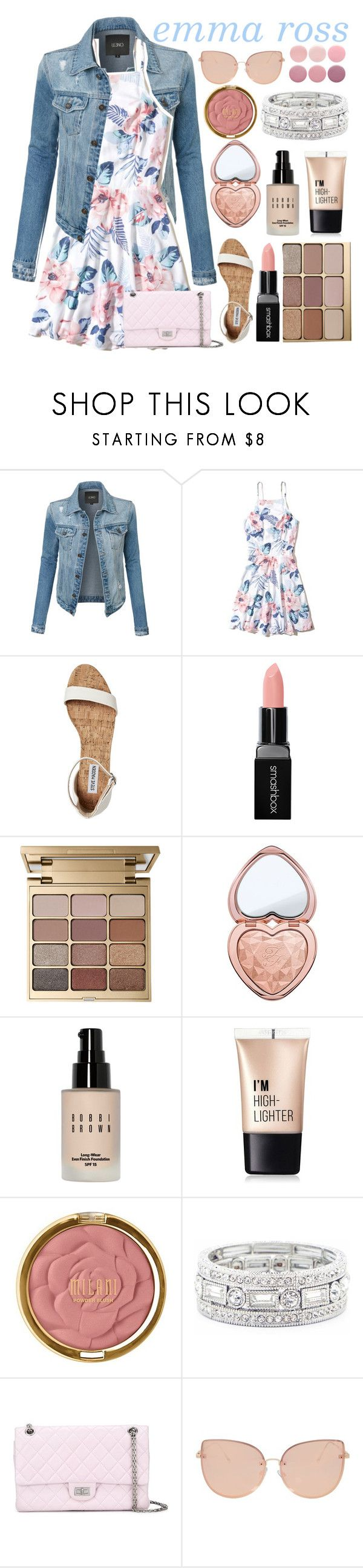 """emma ross inspired outfit🌸"" by s-tyleonscreen ❤ liked on Polyvore featuring LE3NO, Hollister Co., Smashbox, Stila, Too Faced Cosmetics, Bobbi Brown Cosmetics, Charlotte Russe, Milani, Sole Society and Chanel"