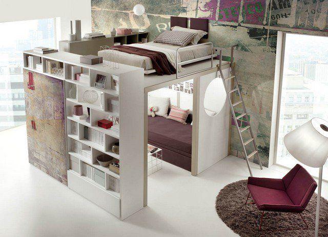 lit mezzanine moderne et pratique dans la petite chambre à coucher