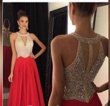 A linha de Vestidos de Baile 2017 O-Neck Mangas Zipper Trem Da Varredura vestido Chiffon com Cristal Longo Formal Vestido Frisado 2016 Vestidos de Noite alishoppbrasil