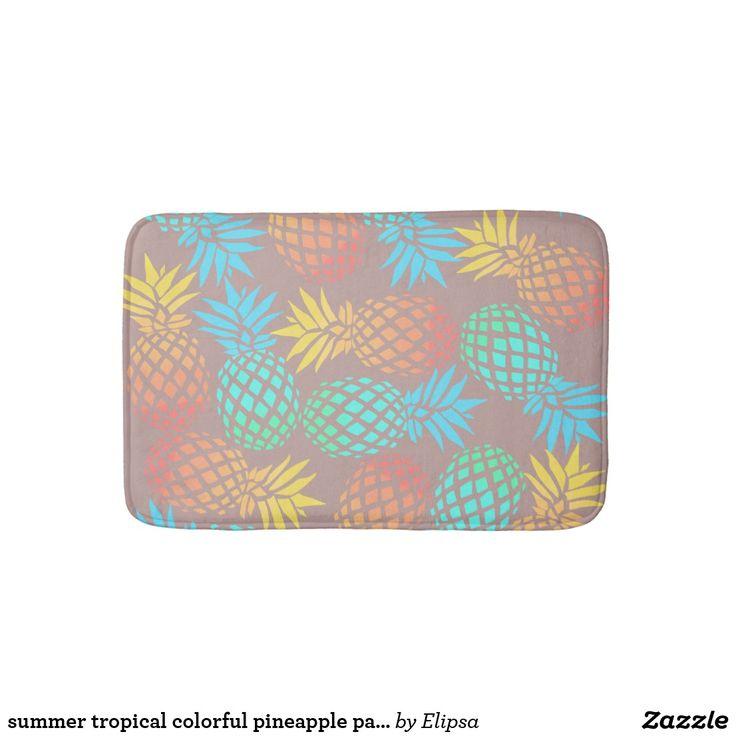 summer tropical colorful pineapple pattern bath mat