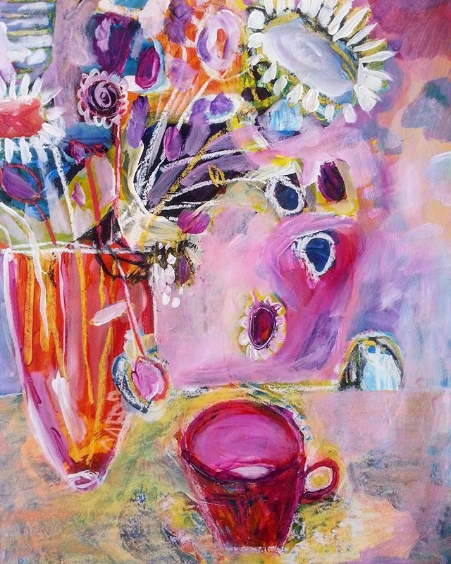 """""""Tea With Dolores"""" // abstract floral art by Canadian artist, Elizabeth Sargeant   available for purchase"""
