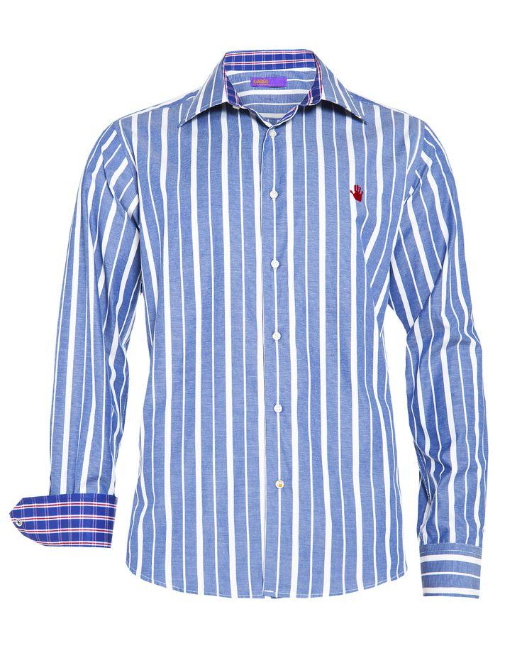 Men's indigo striped shirt, available at www.46664fashion.com