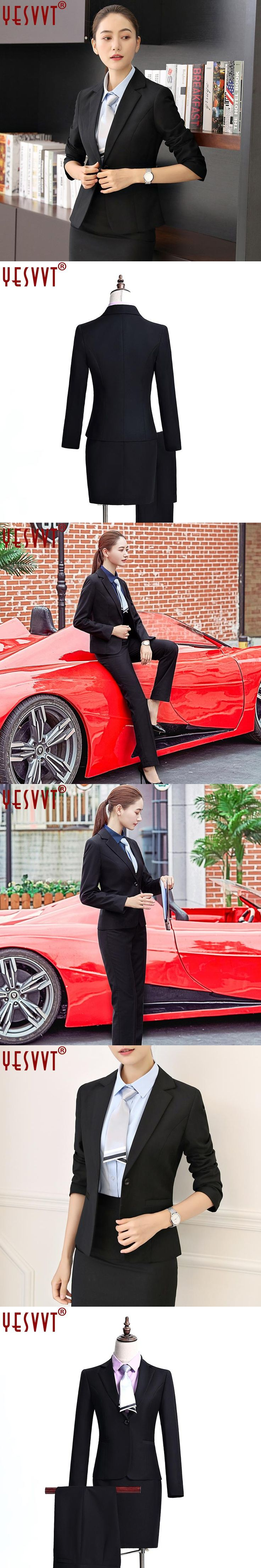 2017 YESVVT Professional women fashion blazer with skirt and pants long sleeve business work skirt suits ladies office uniform